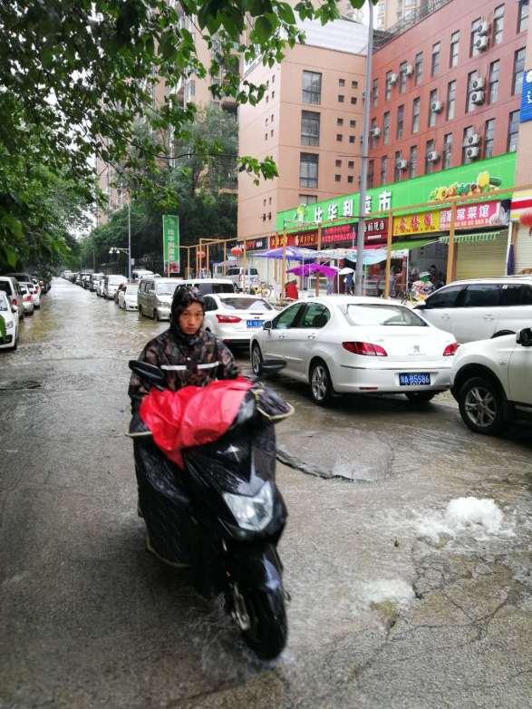 Biker and rain
